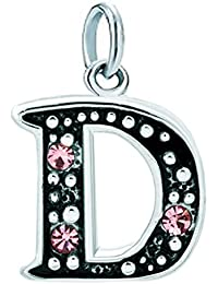 Abalorio en forma letra del alfabeto mayúscula, de Uniqueen, sirve de espaciador en pulseras y collares, con piedras de nacimiento color rosa