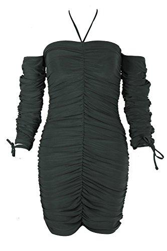 Kaki Femmes Bec Robe Midi Dos Nu Froncée À Cordon De Serrage Kaki