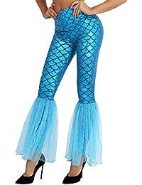 8b653569656f11 iiniim Damen Hose Glänzende Meerjungfrau Fisch-Skala Stretch Leggings  Strumpfhose Für Halloween Fasching Karneval Cosplay