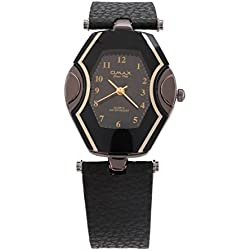 OMAX Women's Silver & Black Face Two Tone Watch Leather Black Strap Analog Quartz Extra Battery