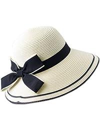 BIUBIONG Mujer Sombrero para el Sol Gorro con Arco Bowknot Viseras Sombrero de Pezcador para Playa Natación del Primavera Verano
