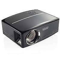 NEXGADGET 1800 Lumens LCD Mini Projector Portable Video Projector GP80 Support HD 1080P HDMI USB SD Card VGA AV for Home Cinema Theater Video Games Movie Night Parties