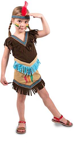 Indianer Squaw Kostüm - Indianerkleid mit Stirnband für Mädchen braun Größe:116/134