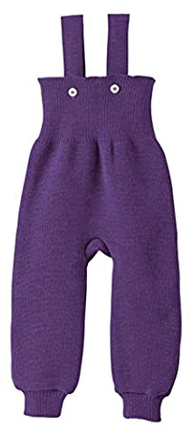 Disana Knitted Baby Bib Tights Made From 100% Controlled Biological Husbandry Virgin Wool - purple - 50/56
