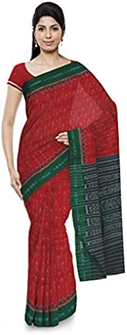 ODISHA HANDLOOM Women's Sambalpuri Cotton Saree Without Blouse(o 73_Gr