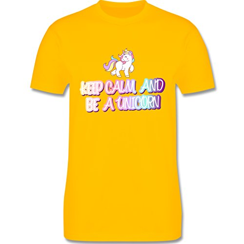 Nerds & Geeks - Keep Calm and Be a Unicorn - Herren T-Shirt Rundhals Gelb