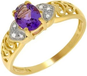 Bague - 135R0213 - 02 - Anillo de mujer de oro amarillo (9k) con diamantes y amatistas