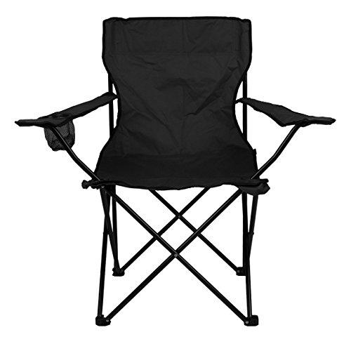 Nexos Angelstuhl Anglerstuhl Faltstuhl Campingstuhl Klappstuhl mit Armlehne und Getränkehalter praktisch robust leicht schwarz -