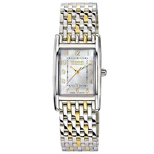 Dugena Damen Quarz-Armbanduhr, Saphirglas, Edelstahlarmband, Quadra Artdéco, Silber/Gold, 7000122-1