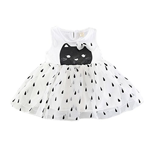 Baywell Kleinkind Kinder Baby Mädchen Kleid, 2018 Sommer Mädchen Sleeveless Cartoon Katze Druck Kind Tutu Pompon Garn Prinzessin Rock (120/5-6Jahre, Weiß)