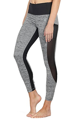 icyzone Damen Sport Leggings Yoga Trainings Hohe Taille Sporthose Stretch Hose mit Tech Mesh (Grey, XL) - Die Tech-hose