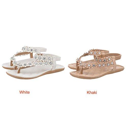 Goodsatar Frauen Sommer Böhmen Blumen Perlen Flip-Flop Schuhe flache Sandalen( Bitte eine größere Größe zu wählen!) Khaki