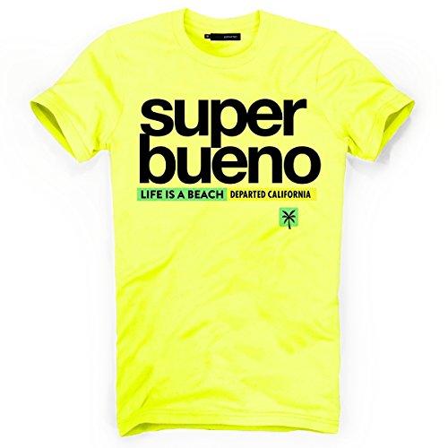 DEPARTED Herren T-Shirt mit Print/Motiv 4168-220 - New fit Größe L, Neon Yellow Breeze -