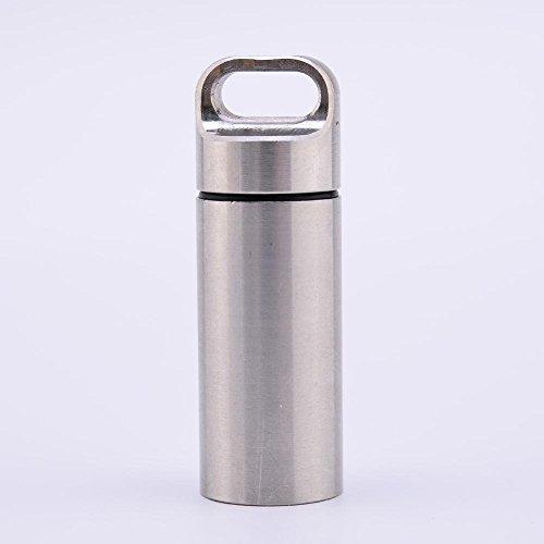 CloudWhisper, Kapsel / Schlüsselanhänger aus Edelstahl, wasserdicht - für Tabletten, Geld etc., M