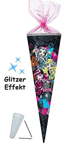 itzer ! - Schultüte - Monster High  Panikparty  - 70 cm - rund - mit Organzaabschluß - Zuckertüte - mit / ohne Kunststoff Spitze - Nestler - Vampi.. ()