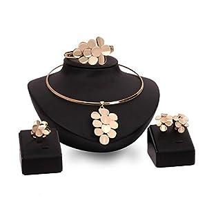 GYJUN Schmuck 1 Paar Ohrringe 1 Armreif Halsketten Ringe Strass Hochzeit Party Aleación 1 Set Damen Goldfarben Hochzeitsgeschenke