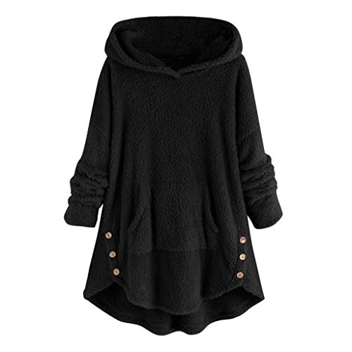 FRAUIT Plüsch Hoodie Damen Over Size Teddy Fleece Pullover Mit Kapuze,Warm Winterjacke Kapuzen Sweatershirt Kapuzenpullover Faux Pelz Pulli Mit Tasche Weich Outwear M-5XL