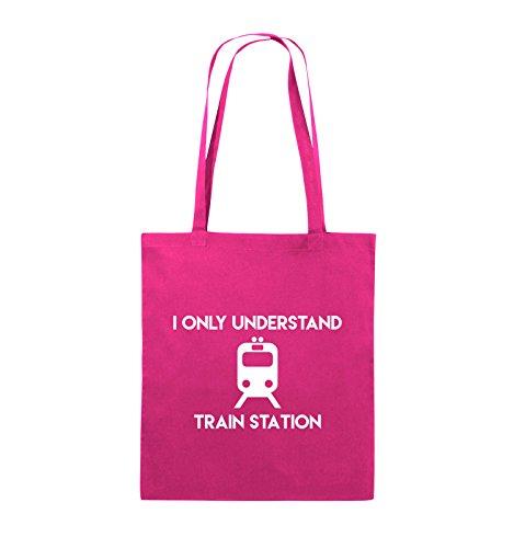 Pink 38x42cm STATION Schwarz TRAIN Jutebeutel UNDERSTAND ONLY Bags lange Farbe Henkel Comedy Pink I Weiss EcWqz7yq4