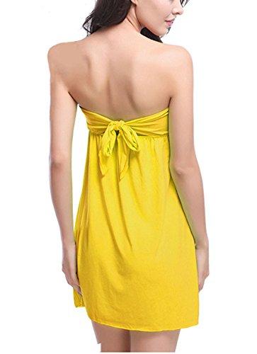Damen Off Shoulder Bandeau Kleid Casual Kleid Beachwear Freizeitkleid Gelb