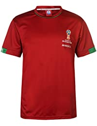f9c6b5975f5b Fifa Coupe Du Monde 2018 Maroc T-Shirt Homme Rouge Football Ballon T-Shirt