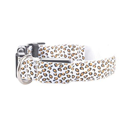 UKCOCO LED Hundehalsband Einstellbar Leopard-Druck Leuchten Nacht Sicherheitshalsband für Hunde - 38cm bis 50cm (Weiß) (Hundehalsband Leopard)