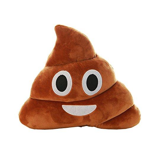 Almohada de Emoji Vovotrade Emoji Emoticono Cojín Almohada Redonda Emoticon Peluche Bordado Sonriente (marrón, 14 * 10 * 4.5cm)