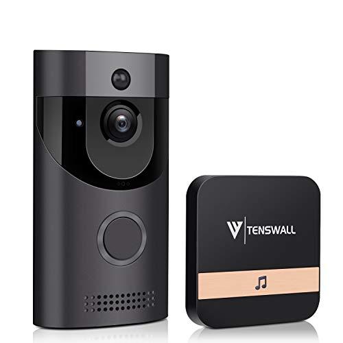 Tenswall Sonnette vidéo, Caméra de sécurité WiFi HD 720P, Système bidirectionnel de Conversation et de vidéo en Temps réel, Détection de Mouvement, Vision de Nuit Infrarouge Multifonction intégrée