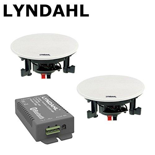 LYNDAHL CS200BT-AMP im Set mit Lautsprechern Einbaulautsprecher, Bluetooth, Verstärker inklusive Deckenlautsprecher mit AUX-IN, Bluetoothlautsprecher Deckenlautsprecher Einbaulautsprecher mit 2 Lautsprechern