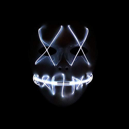 Halloween Kostüm Maske leuchtenden Schädel voller Gesichtsmaske Horror Skelett Cosplay Masquerade Scary EL Draht führte Licht blinkende Maske Glühen in dunkel für Karneval Festival Party (Weiß) (Für Jugendliche Haloween Kostüme)