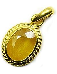 jewelryonclick amarillo Natural zafiro 5quilates Panchdhatu colgante chapado en oro colgante charms