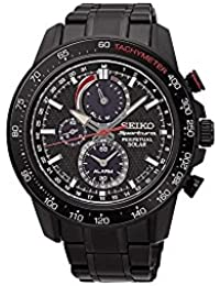 Seiko Sportura Stainless Steel Chronograph Black Dial Men's Watch-[SSC427P1]