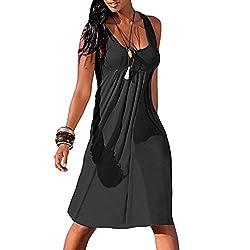 KaloryWee Dresses Women's Summer Casual Sleeveless Mini Plain Pleated Tank Vest Dresses