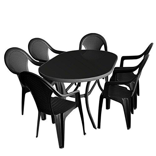 7tlg. Gartengarnitur, Glastisch, Tischglasplatte schwarz, 140x90cm + 6x Stapelstuhl, Vollkunststoff, Anthrazit / Gartenmöbel Terrassenmöbel Sitzgarnitur Sitzgruppe