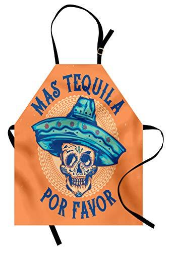 ABAKUHAUS Alkohol Kochschürze, Künstlerischer Hand-gezogener Zuckerschädel-tragender Sombrero mit Mas Tequila Por-Bevorzugungs-Sagen, Maschienenwaschbar Wasserdicht kein Verblassen, Mehrfarbig