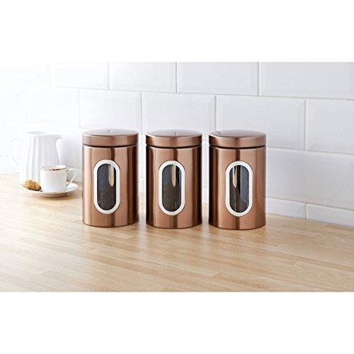 Set von 3Moderne Kupfer Tee Kaffee Zucker Dosen Küche Vorratsdosen -