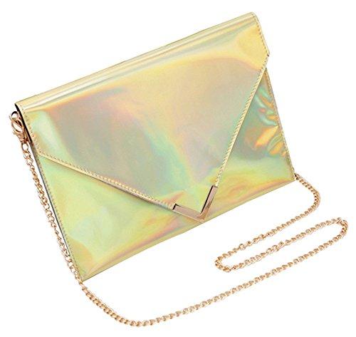 Remeehi da donna Arcobaleno olografico in pelle PU busta frizione borsa catena borsa a tracolla, Purple (viola) - YJJ0519-5 Gold