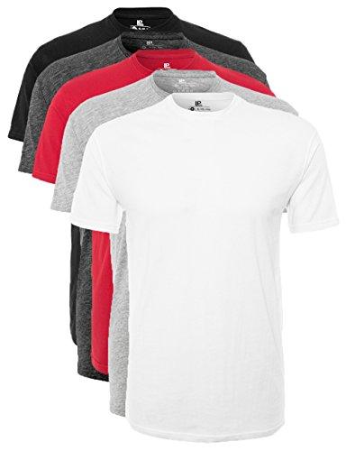 Lower East Herren T-Shirt mit Rundhalsausschnitt, 5er Pack, Mehrfarbig (Weiß/Schwarz/Grau/Anthrazit/Rot), X-Large