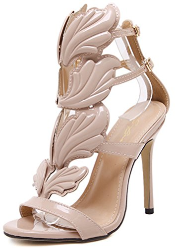 Aisun Damen Modisch Metallic Flügel Peep Toe Knöchelriemen Stilettos Sandalen Pink 37 EU cXOdGMl87