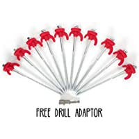 30 x Ultimate Camping Drill in Heavy Duty Tent Peg for General Purpose, Rock or Hard ground, Tents, Awnings, Gazebo's, Free Drill Adapter