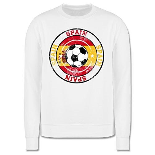 EM 2016 - Frankreich - Spain Kreis & Fußball Vintage - Herren Premium  Pullover Weiß