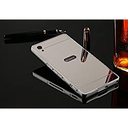 nKarta (TM) Branded Luxury Metal Bumper Acrylic PC Mirror Back Mobile Cove Case For Sony Xperia Z2 - Silver