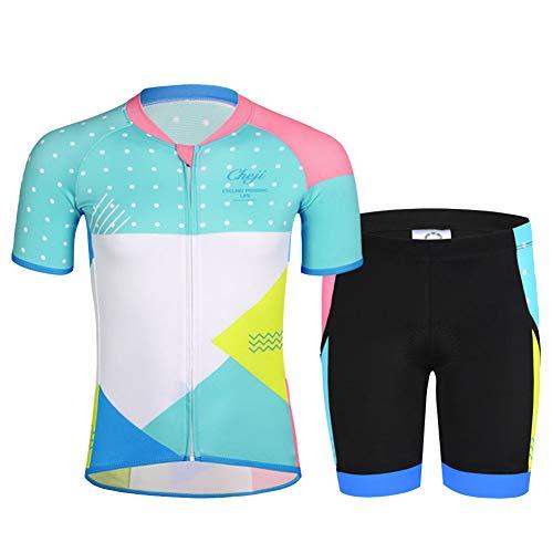 YFCH Kinder Jungen/Mädchen Fahrrad Trikot-Set(Trikot Kurzarm+ Radhose)/ Radtrikot Kurzarm/Radhose gepolstert, Eisblau und Weiß(Anzug), Gr. 140/146(Herstellergröße: 2X)