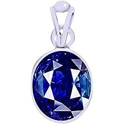 Ramneek Jewels Divya Shakti 5.25 - 5.50 Ratti Aaa Quality Gemstone Blue Sapphi Neelam Stone Silver Unisex Pendant