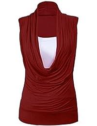 Purple Hanger - Débardeur Femme Col Froncé Grand Taille Panneau Doublure Contrasté Sans Manche Insert Extensible Col Bénitier Froncé Neuf