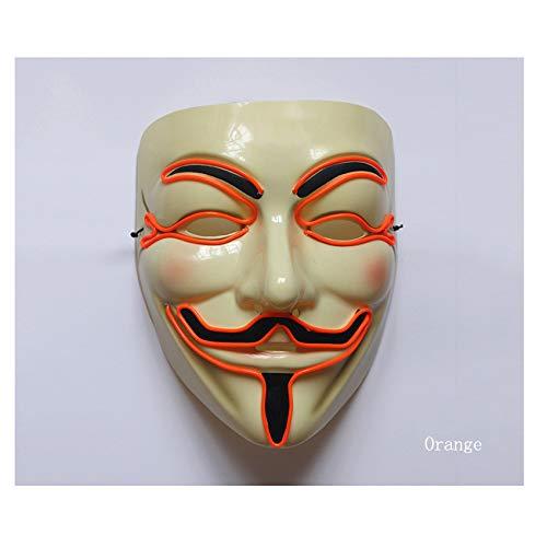 KYX-GAOMOUREN Halloween Grimasse Makeup Party Maske EL Glow Line Maske (Ohne Batterie),A (Halloween Werwolf-make-up Für Männer)