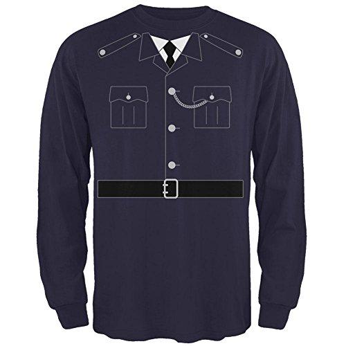 Britische Bobby Kupfer Polizei Kostüm Herren Long Sleeve T-Shirt Marine X-LG (Britischer Bobby)