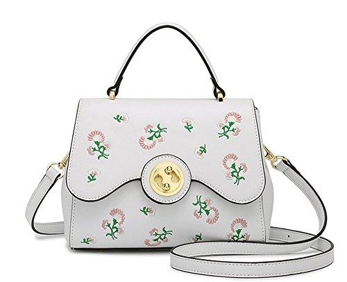 XinMaoYuan ricamo fresca bloccare borsa tracolla selvatici Messenger Bag borse Pu sezione trasversale piccola piazza Borsa,Nero Bianco