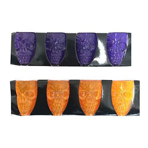Set de 8 vasos con forma de calavera en plástico, 55 ml, para Halloween y fiestas infantiles