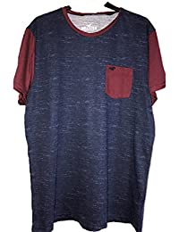 Hollister New Henley Blue Pocket Logo T-Shirt Tee top Textured Blue Burgundy L Large Polo Shirt Men