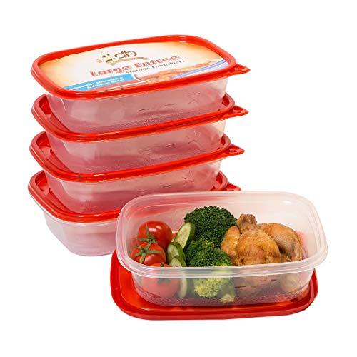 5 x contenitori per alimenti riutilizzabili con coperchio per microonde | pasto prep lunch box size 32oz / 0.95l | forno a microonde, congelatore, lavabile in lavastoviglie | rosso